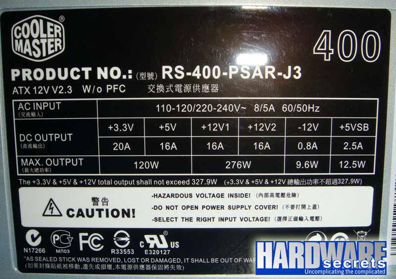 Cooler Master Elite Power RS-400-PSAR-J3 этикетка БП