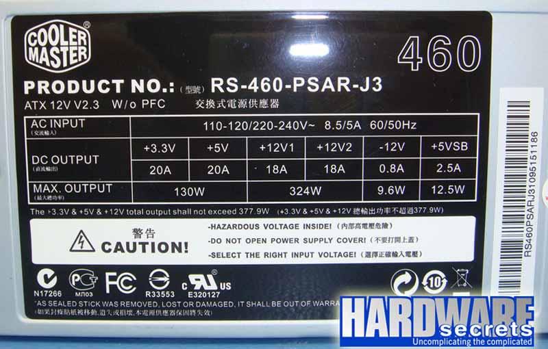 Cooler Master Elite Power RS-460-PSAR-J3 этикетка БП