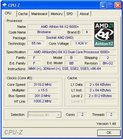 характеристики Athlon 64 X2 6000+