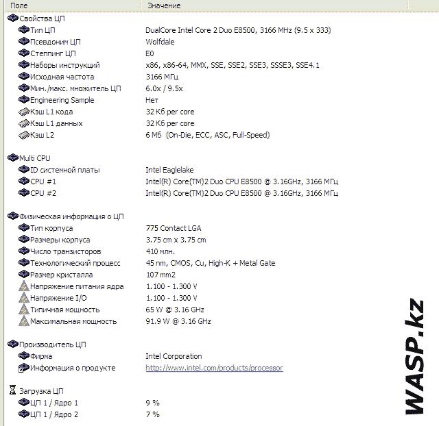 Intel Core 2 Duo E8500 тестирование процессора