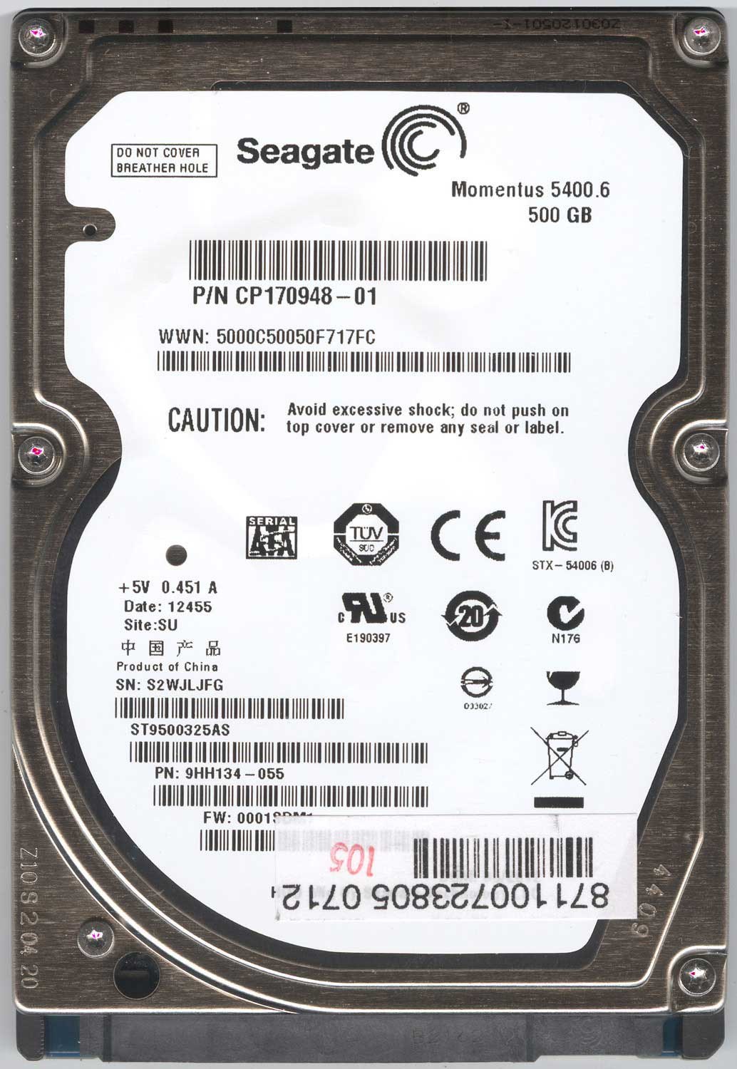 Seagate ST9500325AS жесткий диск