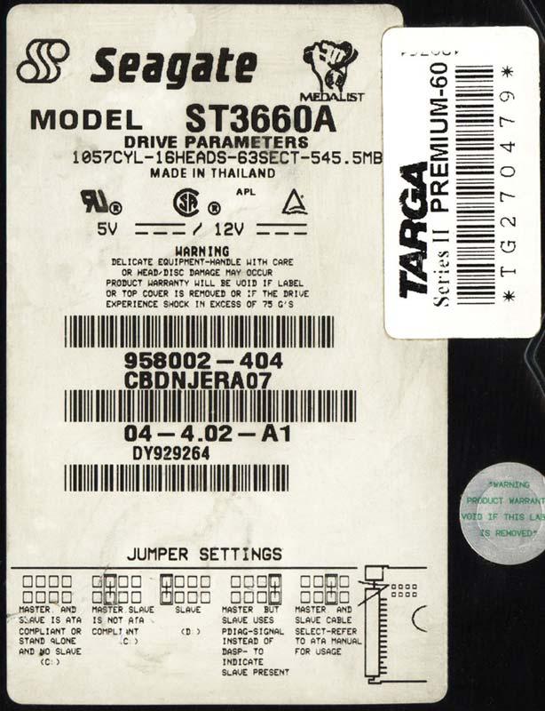 Основная наклейка Seagate ST3660A со всеми характеристиками и параметрами