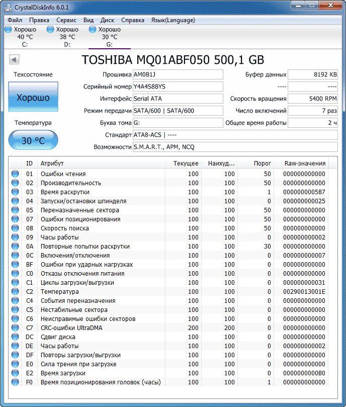 Toshiba MQ01ABF050 данные на диск Cristall Disk Info