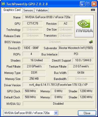GPU-Z GeForce 8100 / nForce 720a разгон