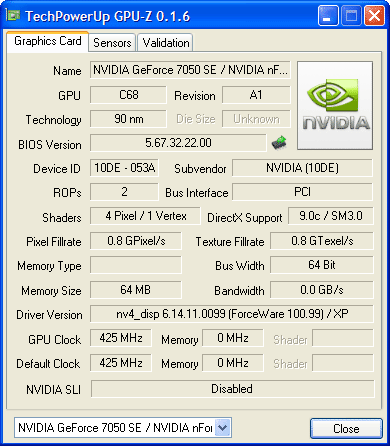 TechPowerUp GPU-Z 0.1.6 Colorful C.N7050PV Ver1.4