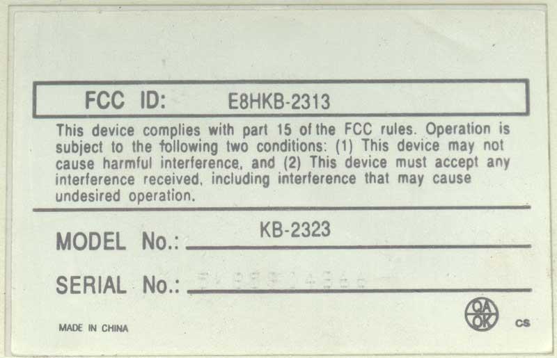 Клавиатура KB-2323 FCC ID: E8HKB-2313