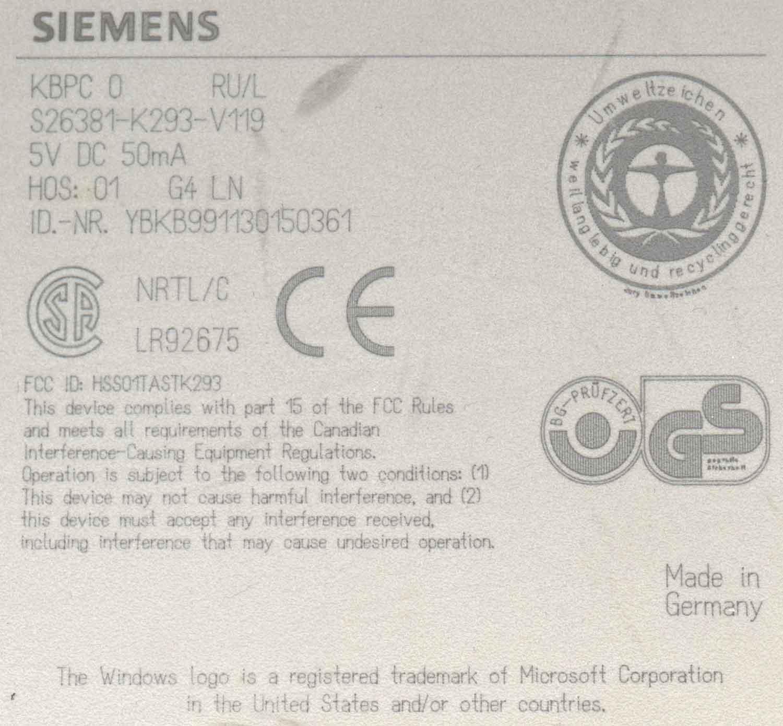 Siemens KBPC O, S26381-K293-V119, FCC ID: HSS01TASTK293