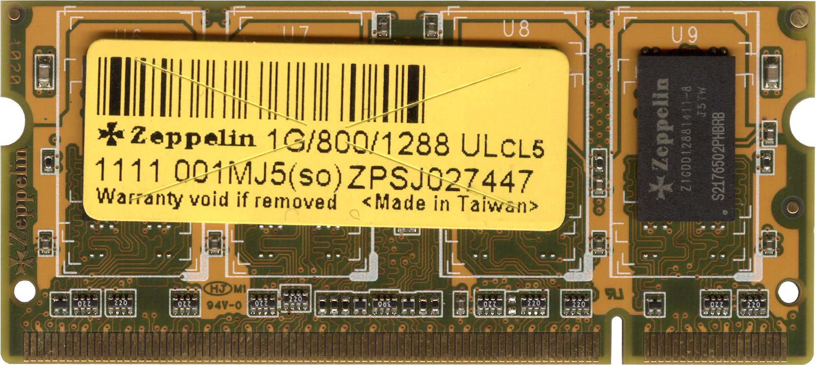 Оперативная память Zeppelin ZPSJ027447 - 1G/800/1288 ULcL5