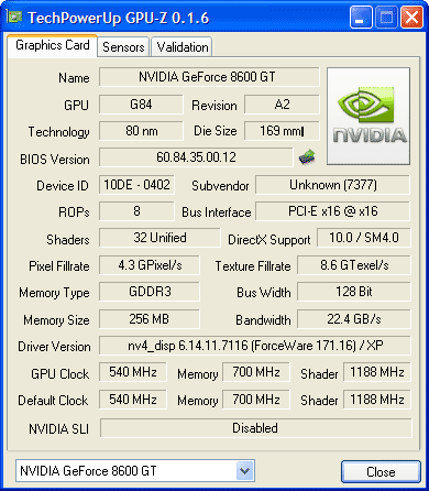 Colorful GeForce8600GT 526 Мб характеристики