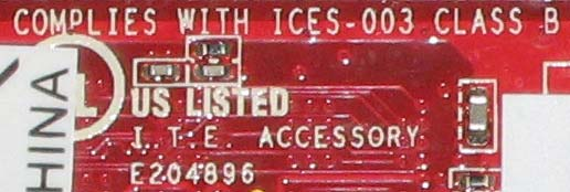 E204896 complies with ICES-003 Class B US listed