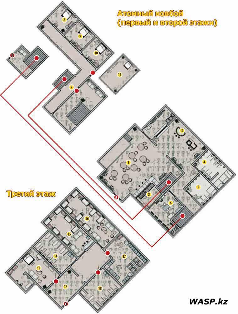 """План-схема: """"Атомный ковбой"""" - первый, второй и третий этажи. Fallout: New Vegas - Atomic Wrangler map"""