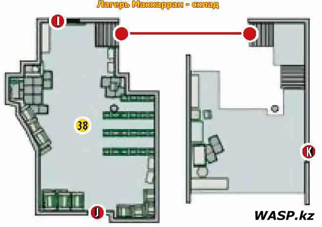 План-схема: Лагерь Маккарран - склад. Fallout: New Vegas - Camp McCarran Supply Shack map