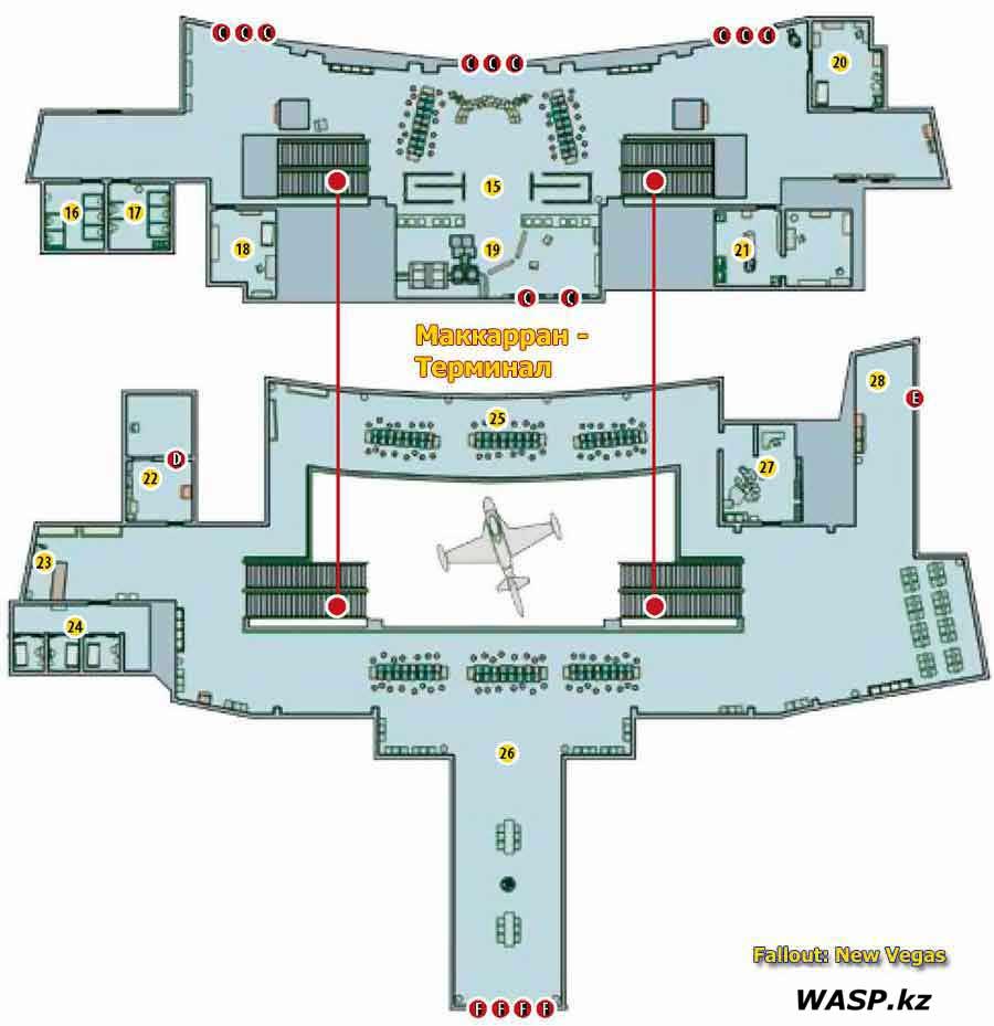 План-схема: Лагерь Маккарран - здание Терминала