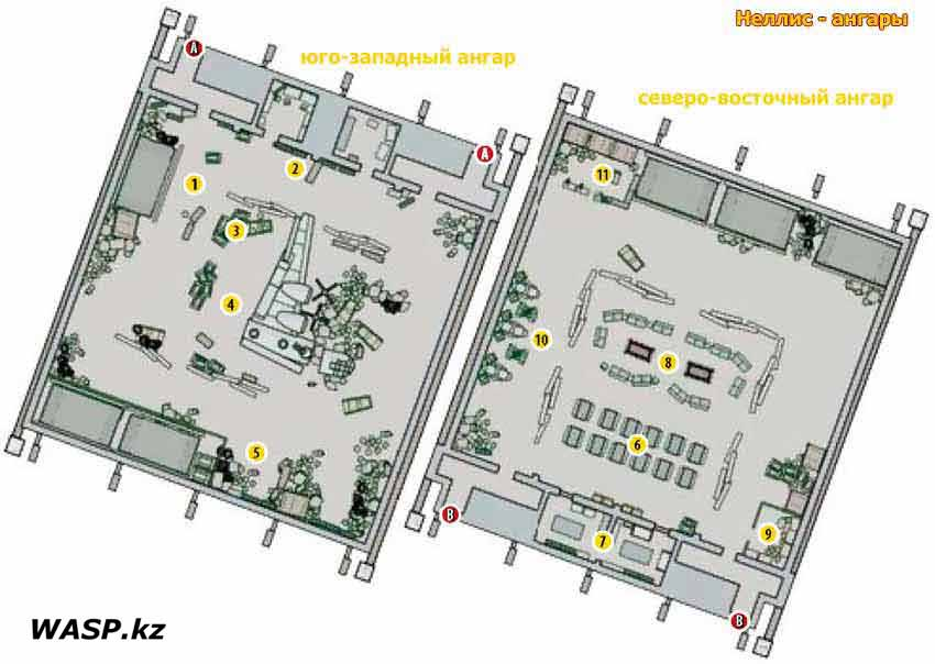 План-схема: ангары Неллиса. Fallout: New Vegas - Nellis Hangars map