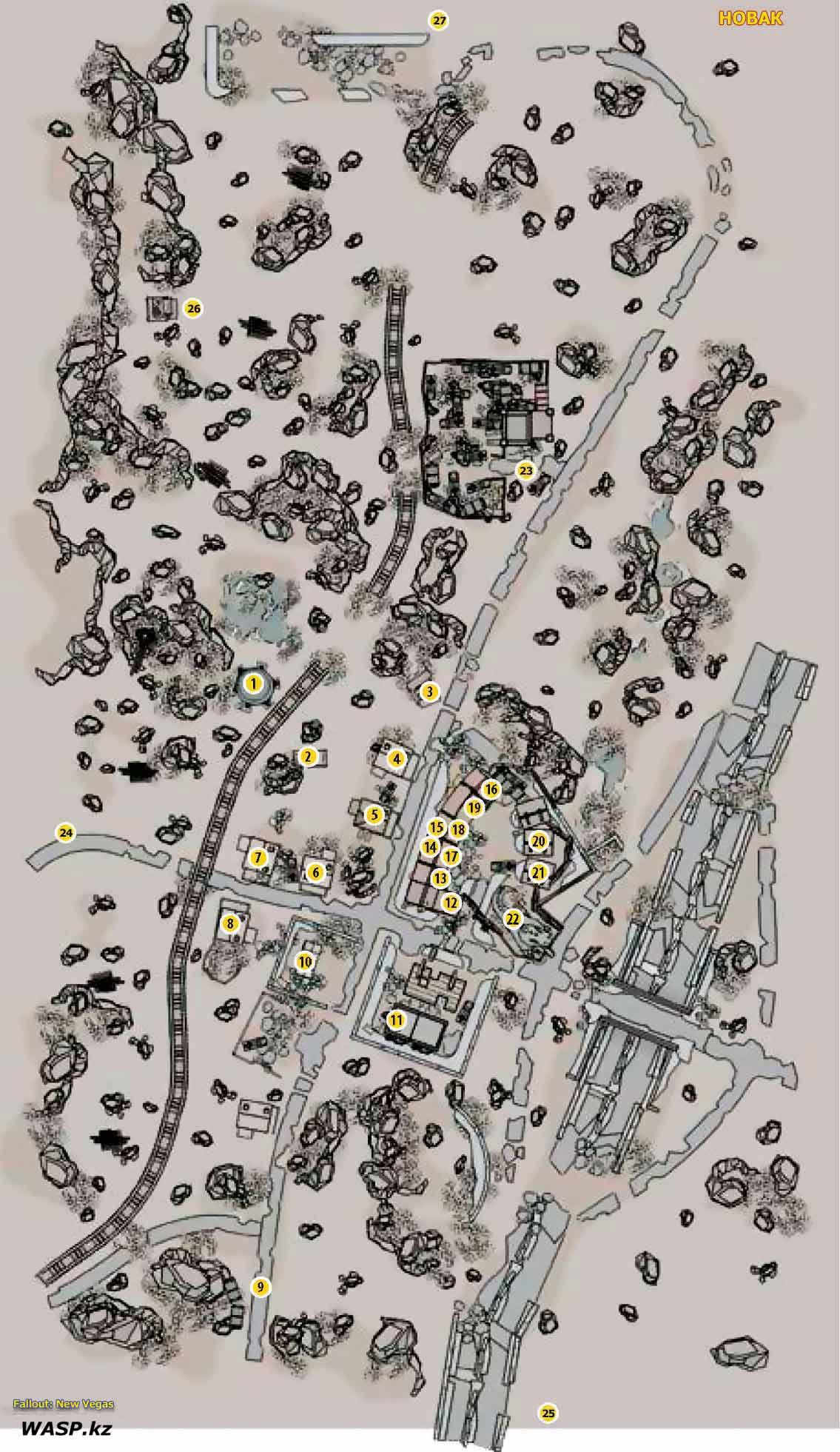 Fallout: New Vegas - карта города Новак