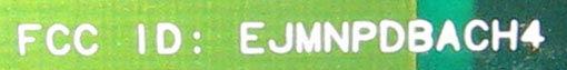 FCC ID: EJMNPDBACH4 маркировка